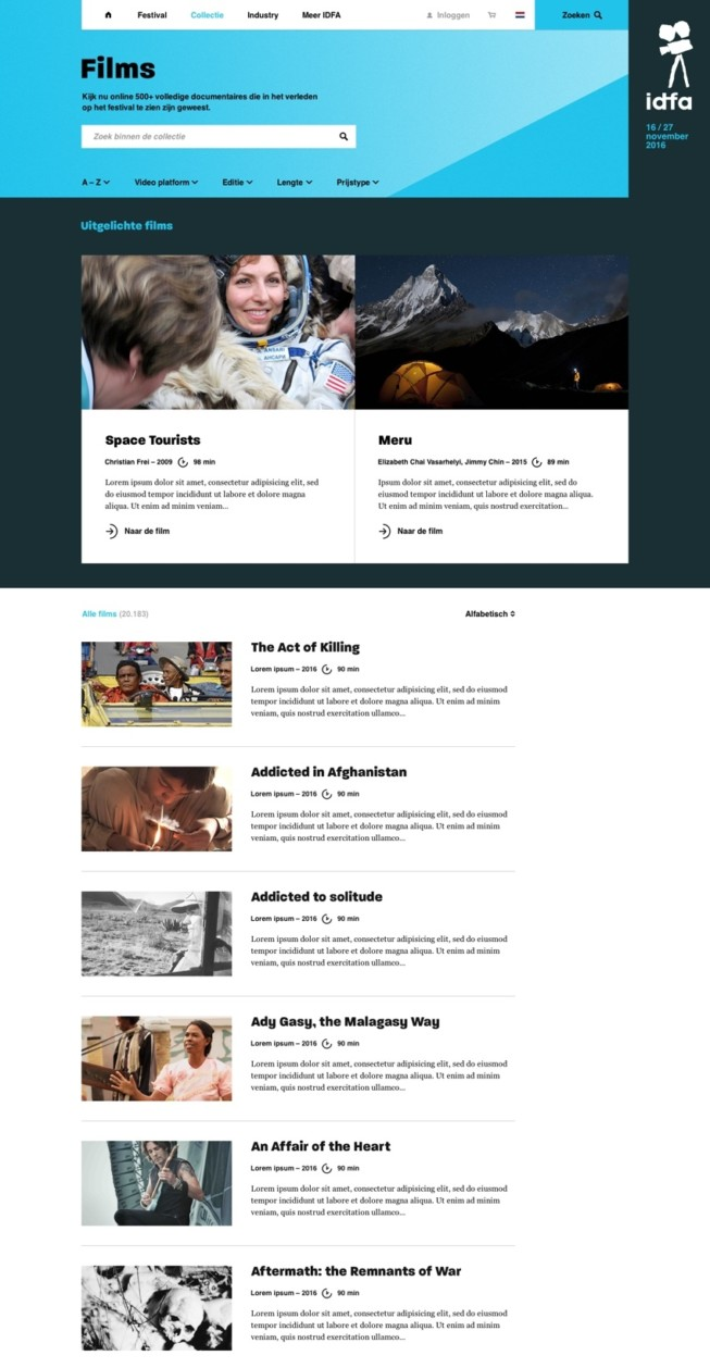 IDFA - Website re-design back