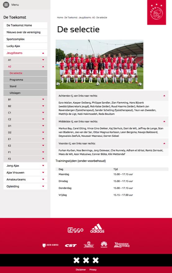 Ajax Selectie pagina